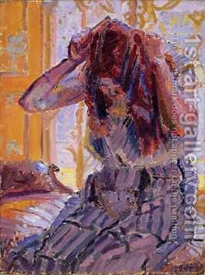 Girl Combing her hair by Harold Gilman - Reproduction Oil Painting