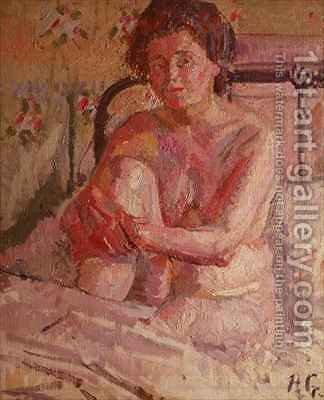 Nude on a Bed by Harold Gilman - Reproduction Oil Painting