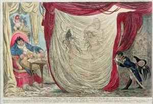 Occupations of Madame Theresa Tallien 1773-1835 and the Empress Josephine 1763-1814 dancing naked before the Vicomte de Barras 1755-1829 in the winter of 1797