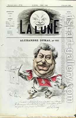 Caricature of Alexandre Dumas pere 1803-70 as a Musketeer from the front cover of La Lune magazine by Andre Gill - Reproduction Oil Painting