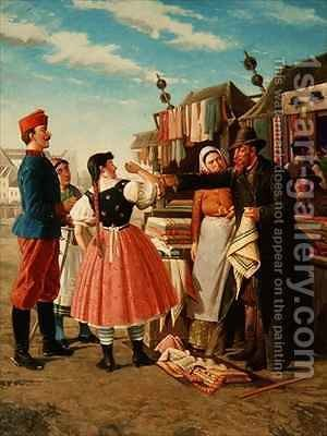 A Fabric Merchant by Alfons Giehsz - Reproduction Oil Painting
