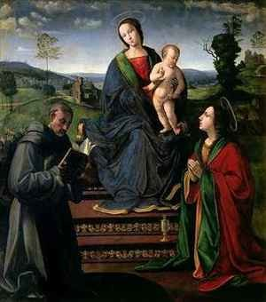 Reproduction oil paintings - Ridolfo Ghirlandaio - Madonna and Child with St Francis of Assisi and St Mary Magdalene