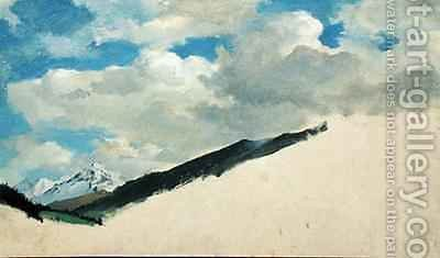 Study of Clouds with Mountain Tops by Jacob Gensler - Reproduction Oil Painting