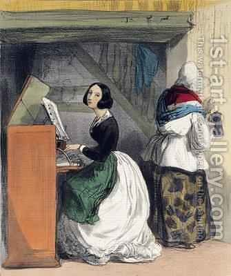 A Music School Pupil from Les Femmes de Paris by Alfred Andre Geniole - Reproduction Oil Painting