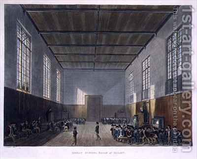 Great School Room of Rugby from History of Rugby School by (after) Gendall, John - Reproduction Oil Painting