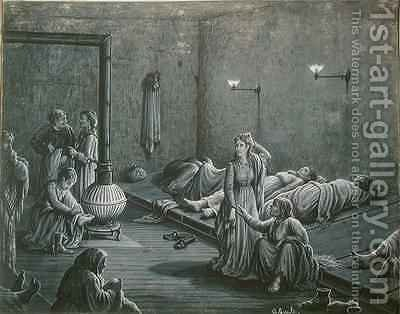 Interior of a Night Shelter for Poor Women by A. Gault - Reproduction Oil Painting