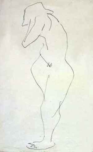 Expressionism painting reproductions: Sophie Nude turning away