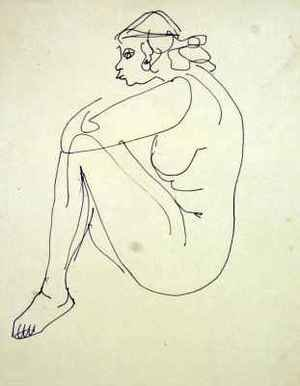 Expressionism painting reproductions: Female Nude Seated