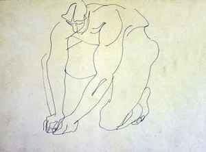 Expressionism painting reproductions: Male Nude Kneeling I