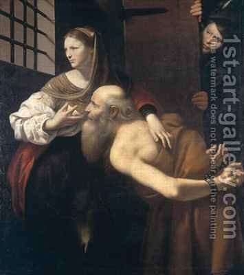 Roman Charity by Giovanni Antonio (Lo Spadarino) Galli - Reproduction Oil Painting