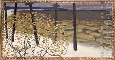 Autumn the five crosses by Akseli Valdemar Gallen-Kallela - Reproduction Oil Painting