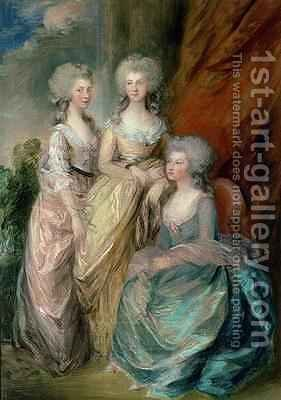 The three eldest daughters of George III Princesses Charlotte Augusta and Elizabeth by (after) Gainsborough, Thomas - Reproduction Oil Painting