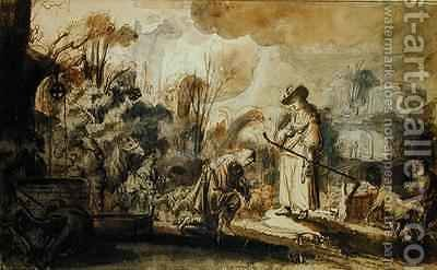 Eliezer and Rebecca at the Well by Abraham Furnerius - Reproduction Oil Painting