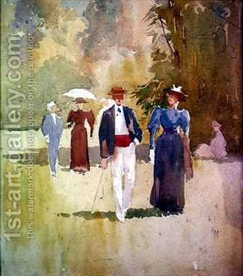 A Walk in the Park by Albert Henry Fullwood - Reproduction Oil Painting