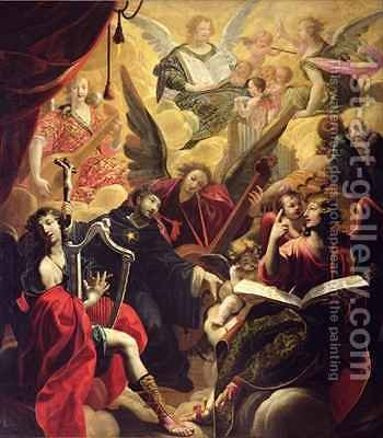 St Nicholas of Tolentino with a Concert of Angels by Ambroise Fredeau - Reproduction Oil Painting