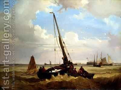 Fishing vessels off Calais by Alexandre T. Francia - Reproduction Oil Painting