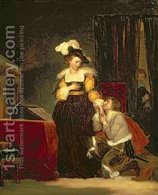 Mary Queen of Scots 1542-87 with Rizzio 2 by Alexandre Evariste Fragonard - Reproduction Oil Painting