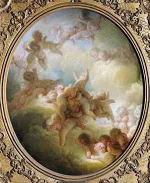 Rococo painting reproductions: The Swarm of Cupids