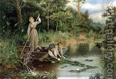 Gathering Lilies by (after) Foster, Myles Birket - Reproduction Oil Painting