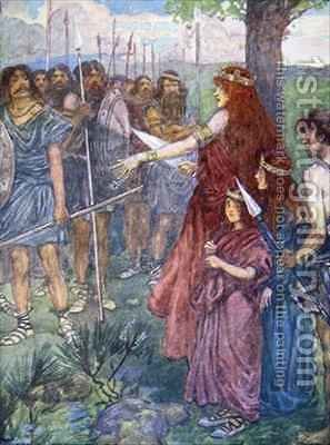 Will you follow me men Boadicea spiriting her men to fight her daughters beside her by A.S. Forrest - Reproduction Oil Painting