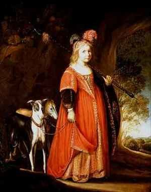 Reproduction oil paintings - Govert Teunisz. Flinck - Portrait of a young girl as Diana in a glade with two greyhounds