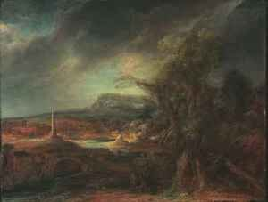 Govert Teunisz. Flinck reproductions - Landscape with Obelisk