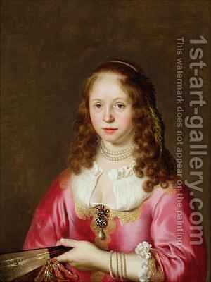 Portrait of a Girl in a Pink Dress Holding a Fan by Govert Teunisz. Flinck - Reproduction Oil Painting