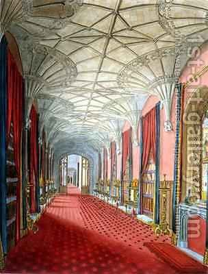 Interior of St Michaels Gallery Fonthill Abbey by (after) Finley, W. - Reproduction Oil Painting