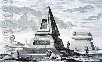 Pyramids marking the Tomb of King Sotis of Egypt found in the ruins of Heliopolis by (after) Fischer von Erlach, Johann Bernhard - Reproduction Oil Painting