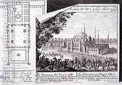 Plan and View of the Suleymaniye Mosque Istanbul by (after) Fischer von Erlach, Johann Bernhard - Reproduction Oil Painting