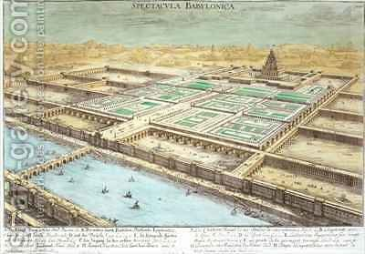 View of Ancient Babylon showing the Hanging Gardens and the Temple of Jupiter Belus 2 by (after) Fischer von Erlach, Johann Bernhard - Reproduction Oil Painting