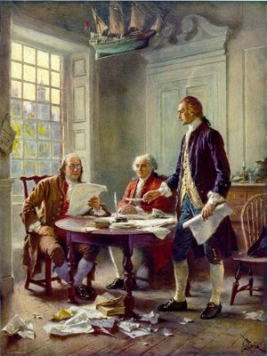 Famous paintings of Furniture: Writing the Declaration of Independence in 1776