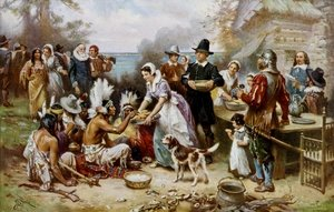 Famous paintings of Indians: The First Thanksgiving