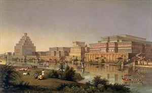 Neo-Classical painting reproductions: The Palaces of Nimrud Restored a reconstruction of the palaces built by Ashurbanipal on the banks of the Tigris