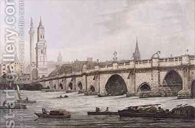 View of London Bridge including the Church of St Magus and The Monument by (after) Farington, Joseph - Reproduction Oil Painting