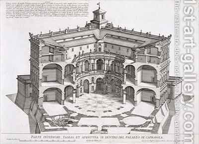 Cross-section of Villa Caprarola by Giovanni Battista Falda - Reproduction Oil Painting