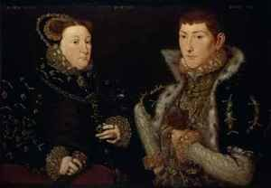 Reproduction oil paintings - Hans Eworth - Lady Mary Nevill and her son Gregory Fiennes