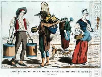 Water Carrier Melon Seller Rag and Bone Woman and Confectionery Seller in the Eighteenth Century by (after) Eriz - Reproduction Oil Painting