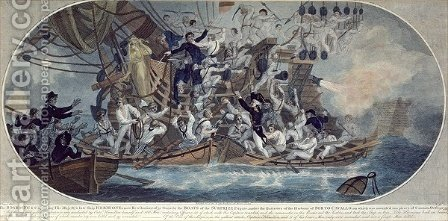 The boarding and capturing of His Majestys late ship by (after) Elms - Reproduction Oil Painting