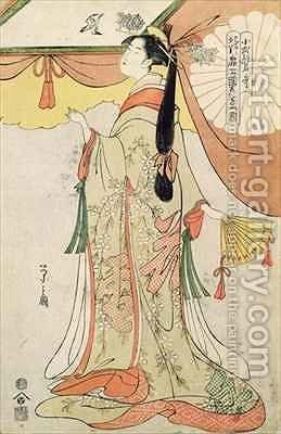The Poetess Ko Shibuku by Hosoda Eishi - Reproduction Oil Painting