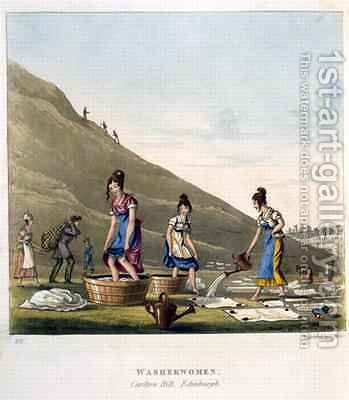 Washerwomen Calton Hill Edinburgh from Airy Nothings or scraps and naughts and odd cum shorts in a circumbendibus hop step and jump by (after) Egerton, Michael - Reproduction Oil Painting