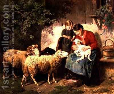 The Pet Lamb by Adolf Eberle - Reproduction Oil Painting