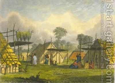 Dakotah village by (after) Eastman, Captain Seth - Reproduction Oil Painting