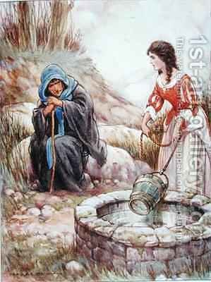 Alice Lee at the Well by Harold C. Earnshaw - Reproduction Oil Painting