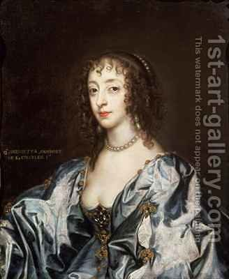 Queen Henrietta Maria 1609-69 3 by (after) Dyck, Sir Anthony van - Reproduction Oil Painting