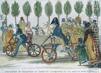 A velocipede race at Jardin du Luxembourg in 1818 by (after) Duvaux, Jules Antoine - Reproduction Oil Painting