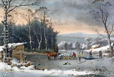 Winter in the Country Getting Ice by (after) Durrie, George - Reproduction Oil Painting