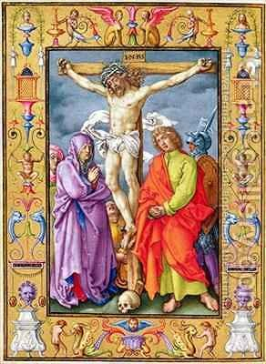 Ms 39 1601 The Crucifixion from Passio Domini Nostri Jesu Christi Secundum Joannem by (after) Durer or Duerer, Albrecht - Reproduction Oil Painting