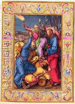 Ms 39 1601 The Kiss of Judas from Passio Domini Nostri Jesu Christi Secundum Joannem by (after) Durer or Duerer, Albrecht - Reproduction Oil Painting