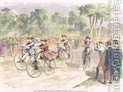 Original Costumes for the Velocipede Race in Bordeaux by Godefroy Durand - Reproduction Oil Painting